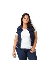 Colete Feminino Jeans Tradicional Plus Size