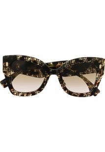 Fendi Eyewear Óculos De Sol Oversized Roma Com Estampa - Marrom