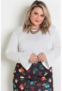 Blusa Off White Plus Size Com Amarração Costas
