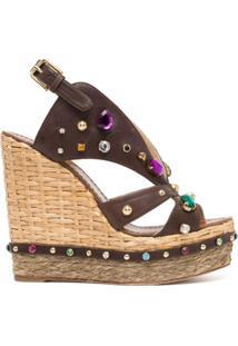 Dolce & Gabbana Sandália Com Plataforma E Aplicação De Pedras - Marrom