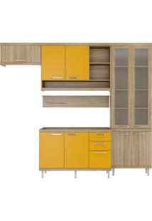Cozinha Compacta Lanús 9 Pt 3 Gv Argila E Amarelo