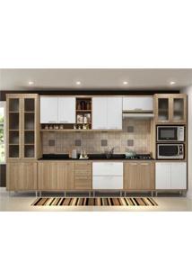Cozinha Completa Multimóveis Com 9 Peças Sicília 5807 Argila/Branco