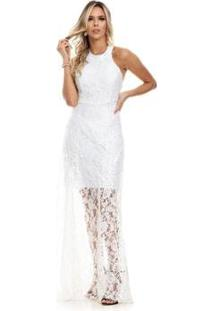 Vestido Clara Arruda Longo Festa Renda - Feminino-Off White