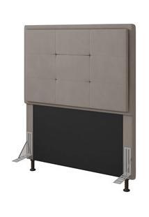 Cabeceira Cama Box Solteiro 90Cm D10 Ônix Suede Bege - Mpozenato