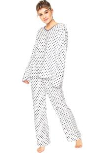 Pijama Any Any Soft Dots Lana Branco/Azul