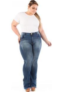Calça Jeans Confidencial Flare Barra Desfiada Plus Size Feminina - Feminino-Azul