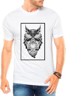Camiseta Criativa Urbana Coruja Style Quadro Branca