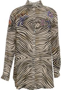 Camisa Manga Longa Desigual Jenny Bege