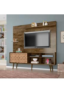 Estante Para Home Theater E Tv 55 Polegadas Turquesa Madeira Rústica E Madeira 3D
