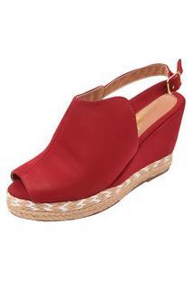 Sandália Uzze Sapatos Anabela Ankie Boot Vermelha