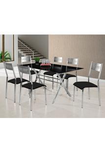 Conjunto De Mesa Tampo De Vidro E 6 Cadeiras Turim M. Londres Siena Móveis Preto/Cinza