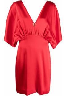 Semicouture Vestido Gola V Com Detalhe Franzido - Vermelho