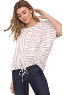 Blusa Over Calvin Klein Listrada Off-White/Bege