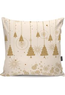 Capa De Almofada ÁRvore De Natal- Branca & Dourada- Stm Home