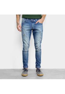 Calça Jeans Skinny Fatal Estonada Destroyed Masculina - Masculino