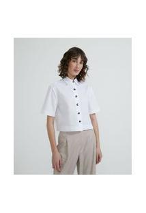 Camisa Manga Curta Em Tricoline Com Botões Diferenciados   Cortelle   Branco   M