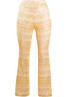 Missoni Mare Calça Slim Com Bordado Chevron - Amarelo
