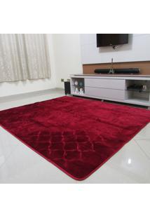 Tapete Aveludado 3D Estampado Vermelho Bordô 2,00Mx2,50M Têxtil Design