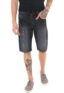 Bermuda Jeans Hd Reta Desgastes Cinza