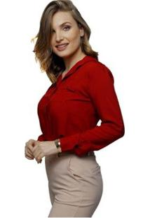 Camisa Sob Escuro Feminina - Feminino-Vermelho Escuro