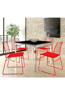 Mesa 1525 Cromada Preta Com 4 Cadeiras 1712 Color Uv Vermelha Carraro