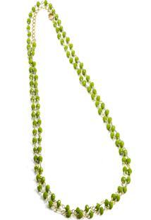 Colar Longo Mini Bolinhas Semijoia Banho De Ouro 18K Quartzo Verde