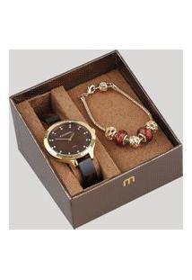 Kit De Relógio Analógico Mondaine Feminino + Pulseira - 53614Lpmvdf1K Dourado