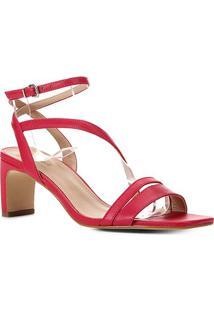 Sandália Couro Shoestock Salto Médio Feminina - Feminino-Rosa