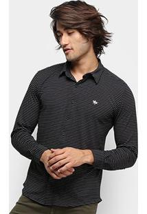 Camisa Polo Rg 518 Listrada Manga Longa Masculina - Masculino-Preto
