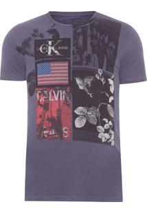 Camiseta Masculina Ckj Estampa Flores - Preto