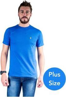 Camiseta Mister Fish Gola Careca Basic Top Hat Plus Size Masculina - Masculino-Azul Royal