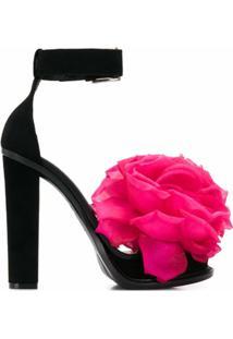 Alexander Mcqueen Sandália Com Aplicação De Floral - Preto