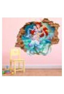 Adesivo De Parede Buraco Falso 3D Princesa Ariel - P 45X55Cm