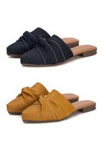 Kit Sapatilha Mule Slip Feminino Confort Bico Fino Jeans/Mostarda
