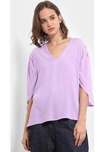 Blusa Colcci Decote V Feminina - Feminino-Violeta