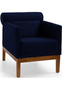 Poltrona Decorativa Fixa Base De Madeira Yumi Veludo Azul Marinho - Gran Belo