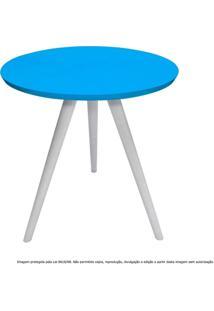 Mesa Lateral De Canto Tripé Média Laqueada Branca E Azul Turquesa