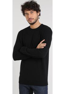 Suéter Masculino Básico Em Tricô Preto