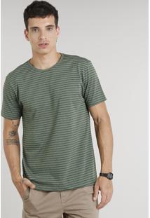 Camiseta Masculina Básica Listrada Manga Curta Gola Careca Verde Escuro