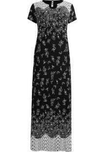 Vestido Pau A Pique Longo Estampado Feminino - Feminino-Preto