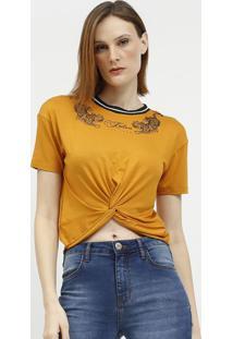 Camiseta Com Torã§Ã£O & Inscriã§Ãµes- Amarelo Escuro & Pretaforum
