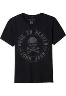 Camiseta John John Rx Dark Skull Circle Malha Preto Masculina (Preto, M)