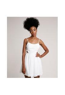 Vestido Feminino Curto Com Laise E Vazado Alça Fina Off White