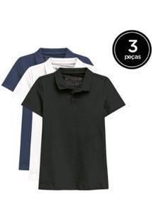 Kit De 3 Camisas Polo De Várias Cores Feminino - Feminino-Preto+Marinho