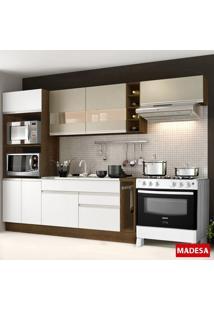 Cozinha Compacta 7 Portas Safira G20180074Lst Rustic/Branco - Madesa