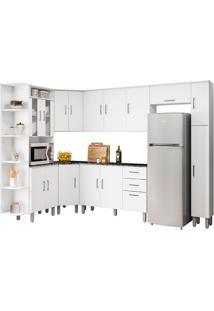 Cozinha Compacta Com Tampo 8 Peças Suiça – Poliman Móveis - Branco