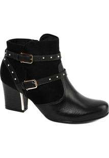Bota Ankle Boot Comfortflex 1697302 - Feminino-Preto