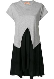 Nº21 Vestido Com Recorte Bicolor - Cinza