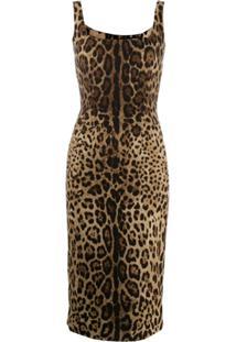 Dolce & Gabbana Leopard Print Fitted Dress - Preto