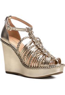 Sandália Anabela Shoestock Trança Feminina - Feminino-Dourado